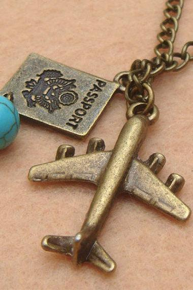 Plane Passport and Turquoise Necklace