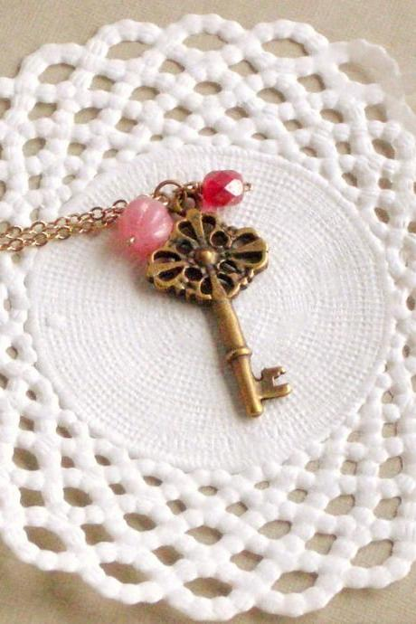 Old Secret necklace - 'Treasures' collection, Key necklace vintage style jewelry, in milky pink and fuchsia