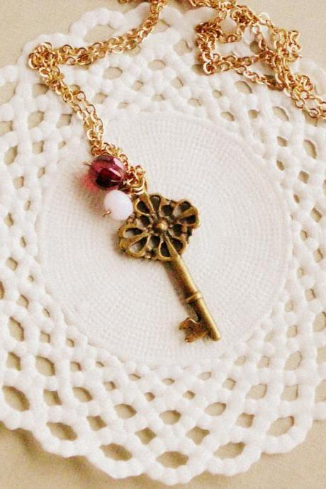 Old Secret necklace - 'Treasures' collection, Key necklace vintage style jewelry, in ruby red and powdery pink
