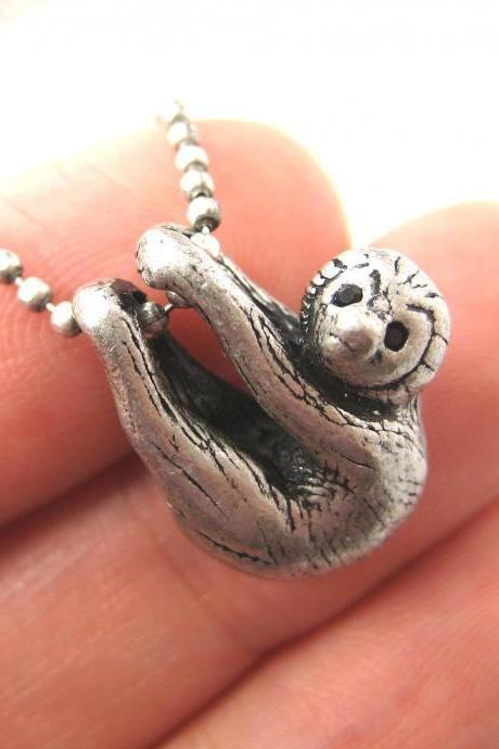 Realistic Baby Sloth Animal Charm Necklace in Silver
