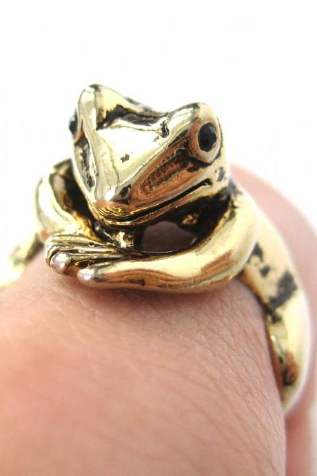 Realistic Frog Animal Pet Wrap Around Hug Ring in SHINY Gold Sizes 4 to 9