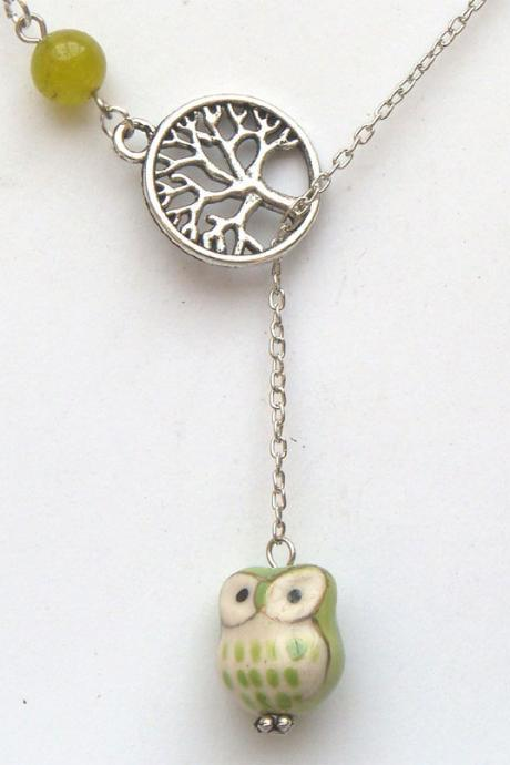 Silver Tree Jade Porcelain Owl Lariat Necklace