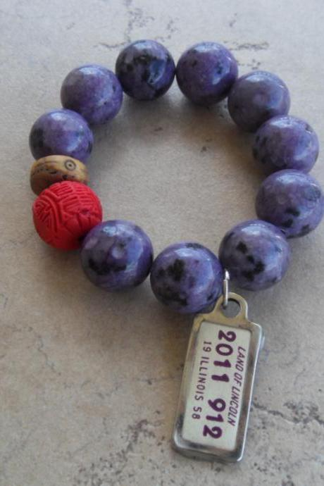 Purple Jasper Stretch Bracelet with a Red Pop of Color and Vintage License Plate from 1958