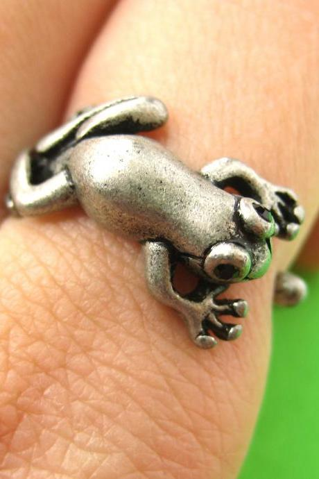 Realistic Leap Frog Animal Wrap Around Ring in Silver Sizes 4 to 8.5