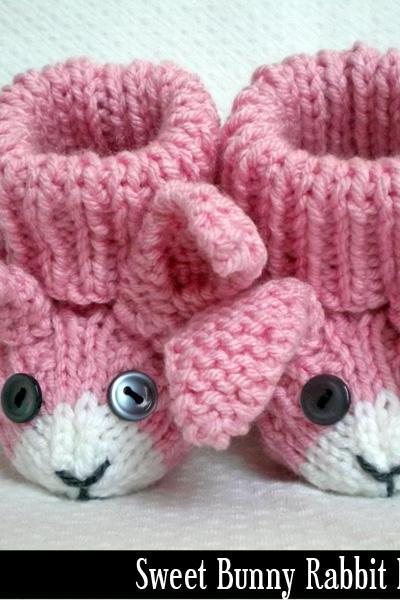 Bunny Rabbit Baby Booties Knitting Pattern