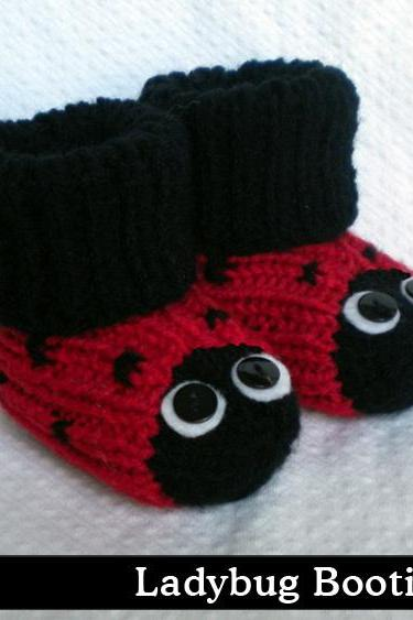 Ladybug Baby Booties Knitting Pattern