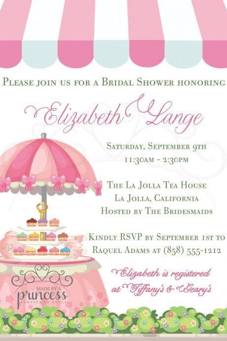 Bridal Shower Invitation - Tea Party Cafe - Printable DIY - Baby Shower Invitation