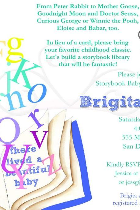 Baby Shower Invitation - Alphabet Tumble Storybook - Printable DIY