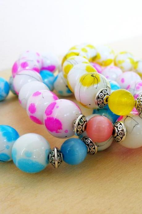 Neon Beaded Bracelet, Neon Jewelry, Stacking Bracelet,Blue Yellow Pink Bracelet,Summer Spring Fashion,Everyday Jewelry,Under 50 40 30 20