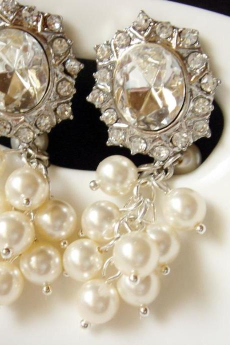 Bridal Pearl Cluster Large Statement Clip On Earrings