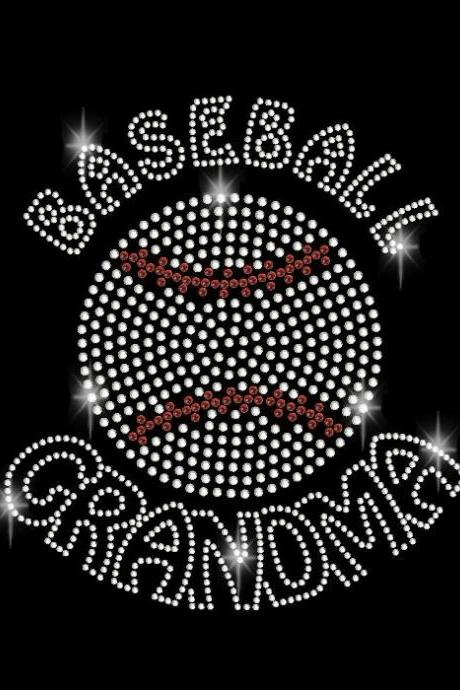 Rhinestone Baseball Grandma Rhinestone Transfer DIY Iron On Bling 34076