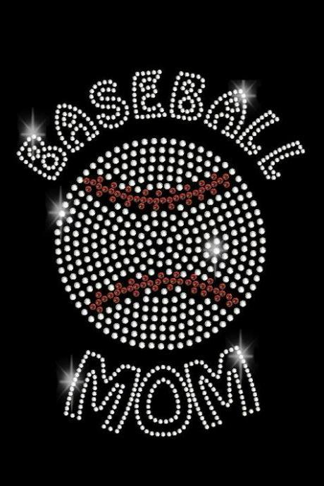 Rhinestone Baseball Mom Rhinestone Transfer Iron On DIY Bling 34074