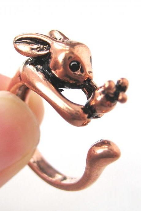 Bunny Rabbit Carrot Animal Wrap Hug Ring in SHINY Copper Sizes 4 to 9