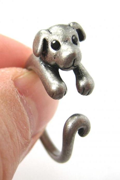 Realistic Puppy Dog Animal Pet Wrap Around Ring in Silver Sizes 4 to 9