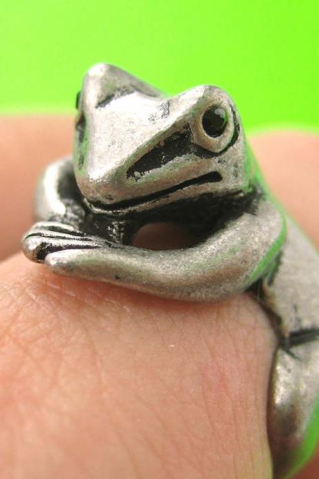 Realistic Frog Animal Pet Wrap Around Hug Ring in Silver Sizes 4 to 9
