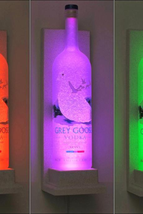 Grey Goose Wall Mount Vodka Color Changing LED Remote Control Lamp Bar Light Bodacious Bottles-