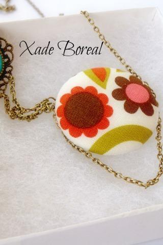 fabric covered button statement necklace