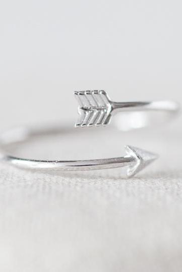 Tiny arrow adjustable ring in silver ,adjustable ring,everyday jewelry, gift ring, Only Silver