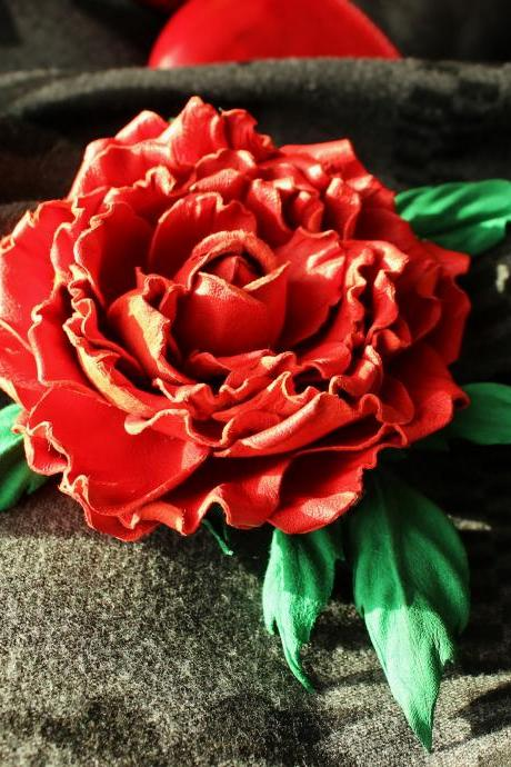 Leather flower, leather brooch, red leather rose, leather corsage, leather jewelry
