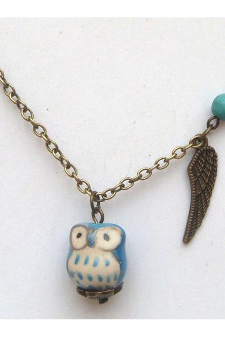 Antiqued Brass Wing Heart Turquoise Porcelain Owl Necklace