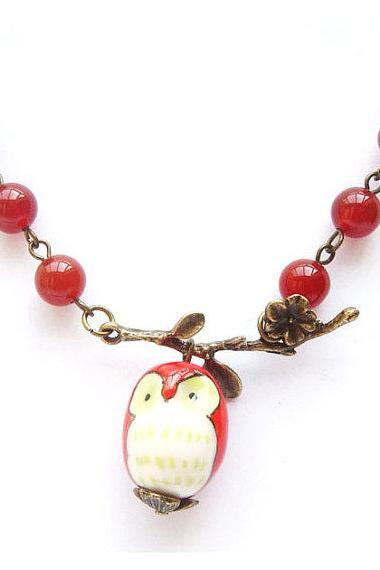 Antiqued Brass Leaf Jade Porcelain Owl Necklace