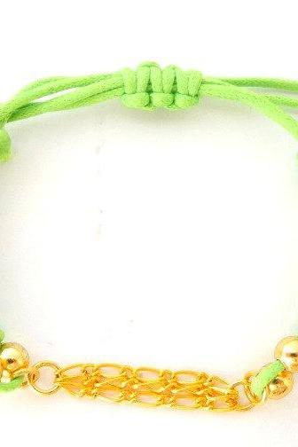 Multi Chains green Macrame Bracelet, Gold chain Macrame Bead Bracelet, Personalized, Charm Jewelry ,Friendship ,Gift
