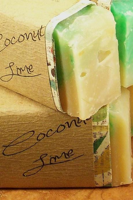 Coconut Lime scented Olive Oil w/Shea Vegan friendly Soap, 3-3.5oz Bar