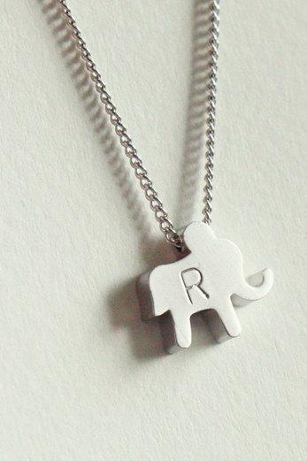 Personalized initial elephant necklace, everyday jewelry