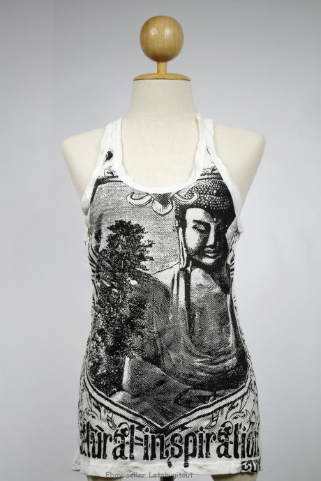 Buddha Tank Top Yoga Singlet White Hindu God Crinkle Cotton S M L XL