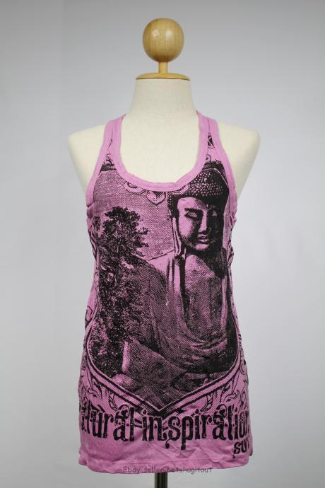 Buddha Tank Top Yoga Singlet Purple Hindu God Crinkle Cotton S M L XL