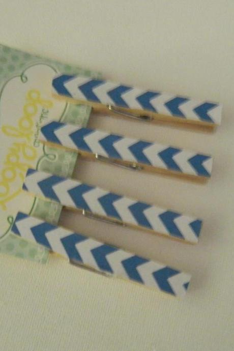 Set of 4 Royal Blue and White Chevron Clothespin Magnets