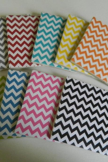 Create your own set of Chevron Coasters. Gray, Red, Turquoise, Yellow, Green, Royal Blue, Pink and Black