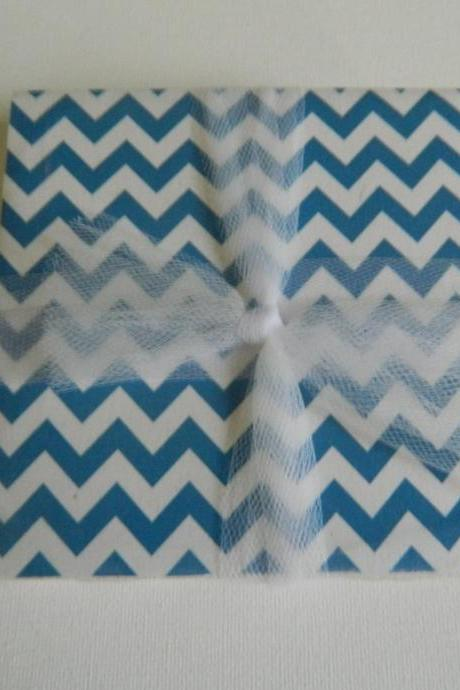 Royal Blue and White Chevron Coasters