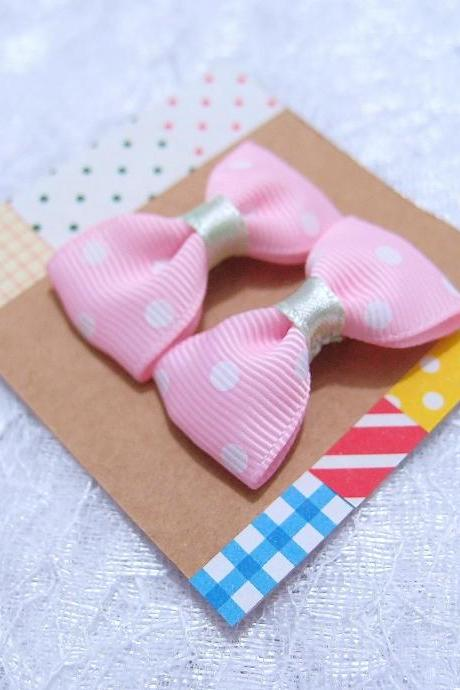 Mini Pastel Pink with White Polka Dots Bow Hair Pins ( 2 in a set )
