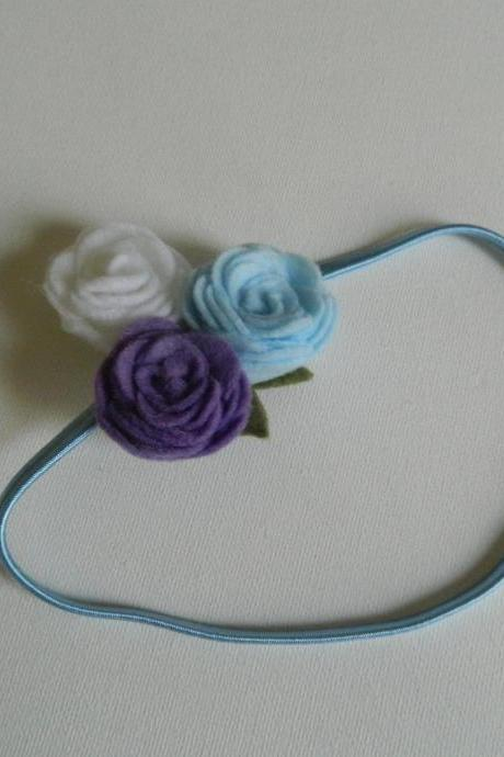 Light Blue, Purple and White Felt Flower Headband