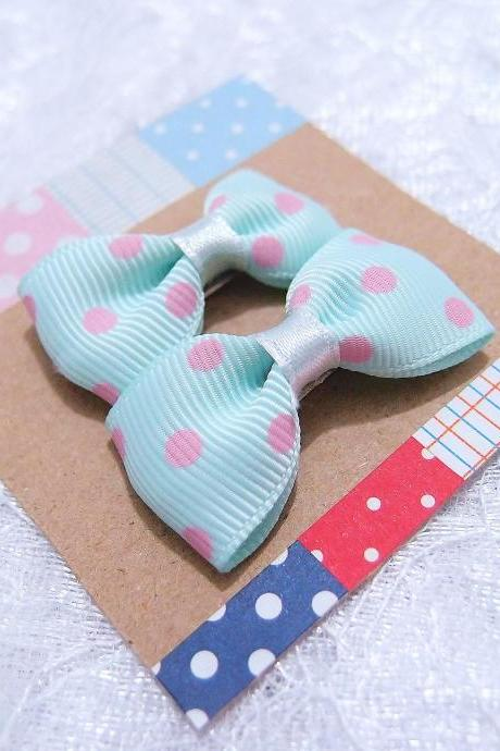 Mini Pastel Blue with Pink Polka Dots Bow Hair Pins ( 2 in a set )