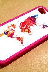 Colorful Wold with Hot Pink Bumper for iPhone 4 or 4s
