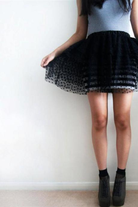 Black Polka Dot Tulle Tiered Tutu Skirt - Size UK 8 / US 4-6 / EU 34