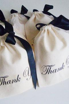5 Thank You unbleached cotton pouches - 4 x 4.5 - Medium