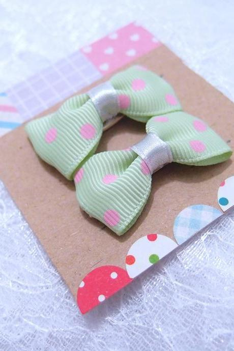 Mini Pastel Green with Pink Polka Dots Bow Hair Pins ( 2 in a set )