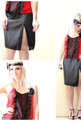 Flapper 1920s Vintage Slip Make Over Red and Black Roaring 20s