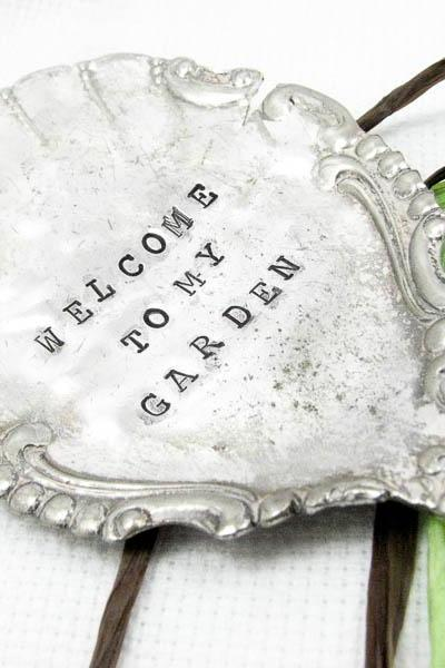 Large Vintage Serving Spoon Garden Marker - Welcome to My Garden
