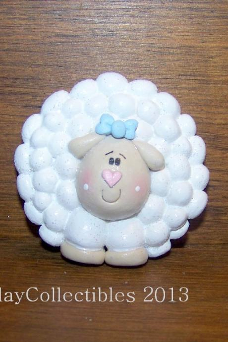 Sweet Little Sheep - Polymer Clay - Brooch Pin