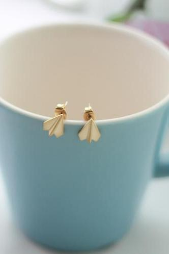 Origami paper plane Earrings in silver