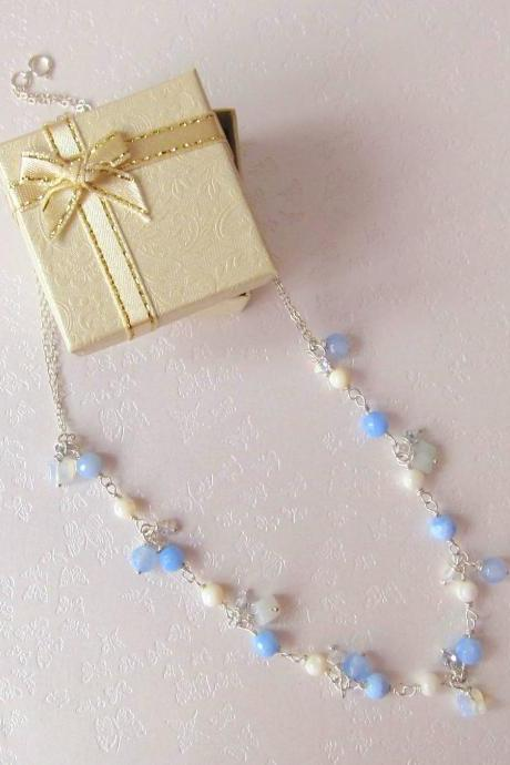 My Fair Lady Necklace-925 Silver, Blue Agate, MoonStone, Shell Pearl & Swarovski Crystals