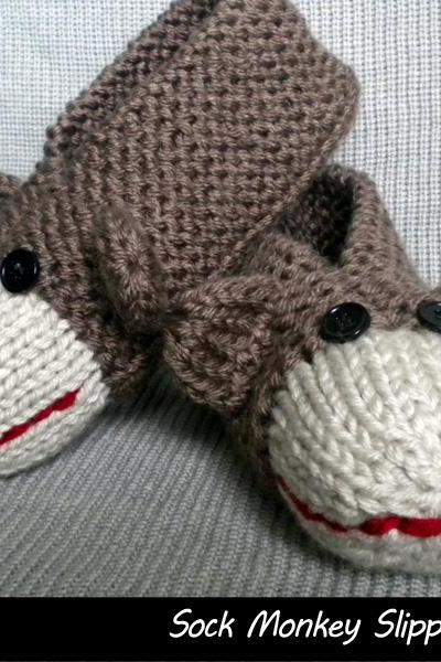 Sock Monkey Slippers for Men and Women