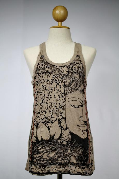 Buddha Tank Top Yoga Top Singlet Hindu God Brown Thailand S M L XL