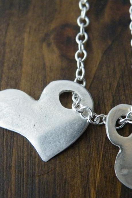 Fine Silver Hearts Pendants Sterling Silver Chain Romantic Necklace Minimalist Jewelry by SteamyLab