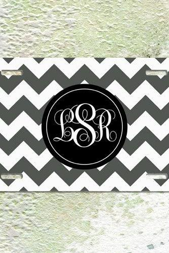 License Plate Monogram Charcoal Chevron Black Monogram Car Tag Aluminium