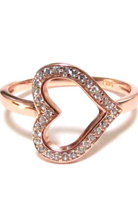 Sideways Heart RIng-Rose Gold Over 925 Sterling Silver Ring With CZ-Size 6 to 9